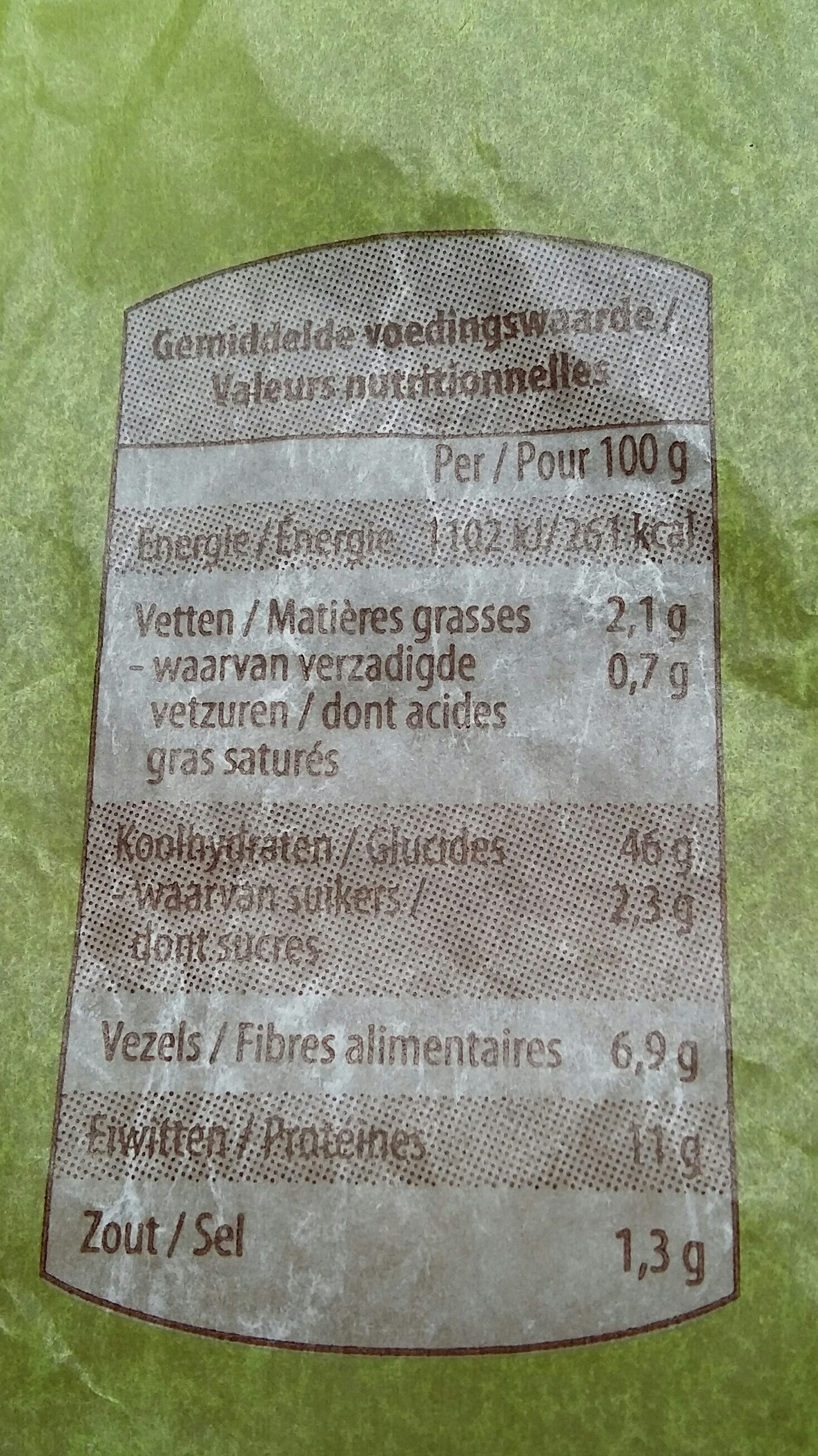 Pain complet - Nutrition facts - fr