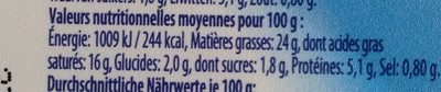 valblanc fromage frais - Nutrition facts