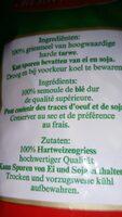 Spirale, Hartweizen - Ingrediënten