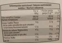 Focaccine tomate et origan - Informació nutricional