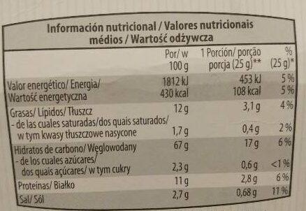 Focaccine tomate & origan - Información nutricional - es