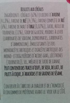 Biscuits aux céréales - Noisettes - Ingrediënten