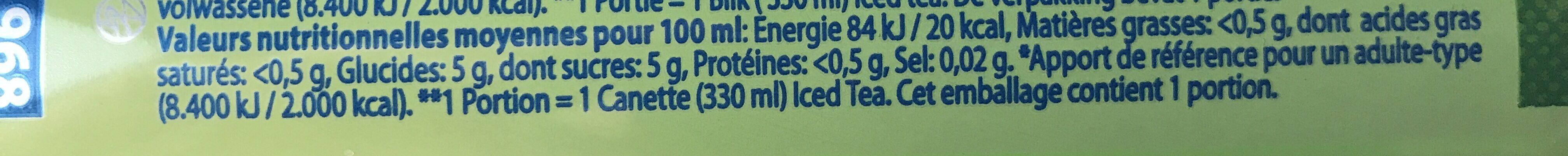 iced tea green - Ingrédients - fr