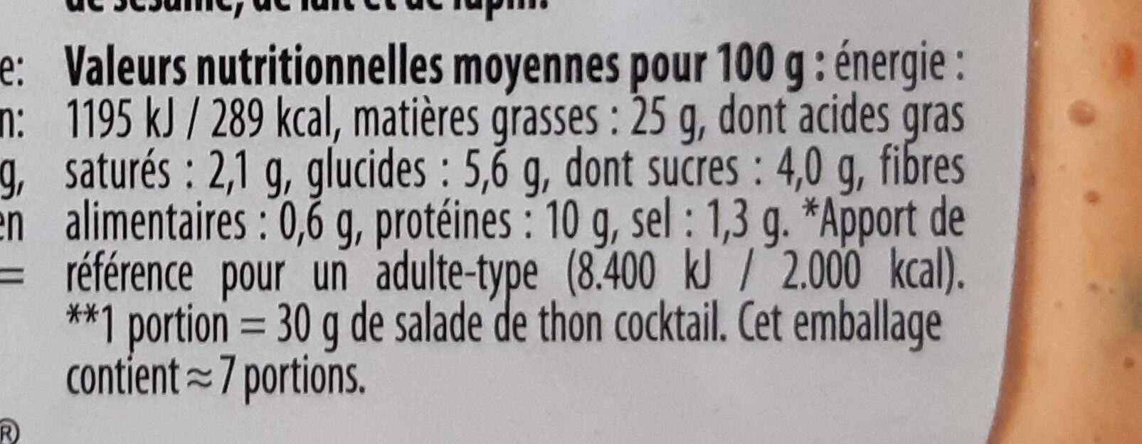 Thon cocktail - Informations nutritionnelles - fr