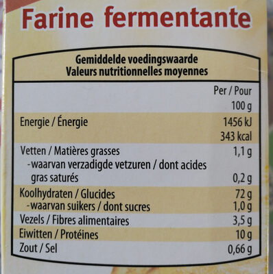 Farine a gateaux - Informations nutritionnelles