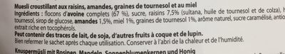 Crunchy Granola - Meusli Croustillant - Ingredientes