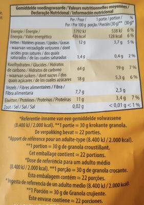 Crunchy granola - Informations nutritionnelles - fr