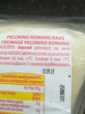 Pecorino Romano Dop - Ingrediënten - fr