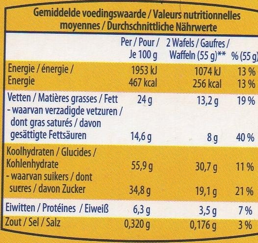 Gaufres Moelleuses - Voedingswaarden