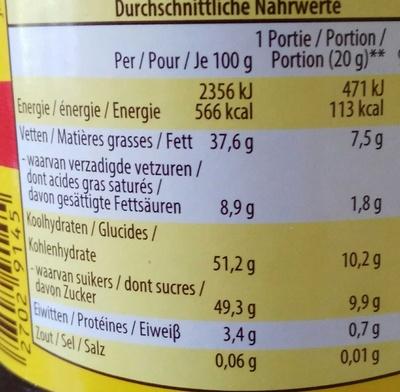 Tartichoc - Voedingswaarden - fr