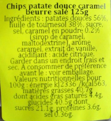 Chips patate douce caramel beurre salé - Ingredients