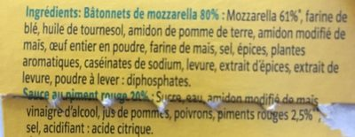 Bâtonnets de Mozzarella avec Sauce au Piment Rouge - Ingrédients