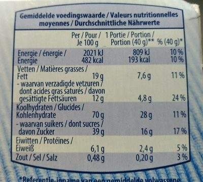 Gaufrettes fines au beurre - Voedingswaarden - fr