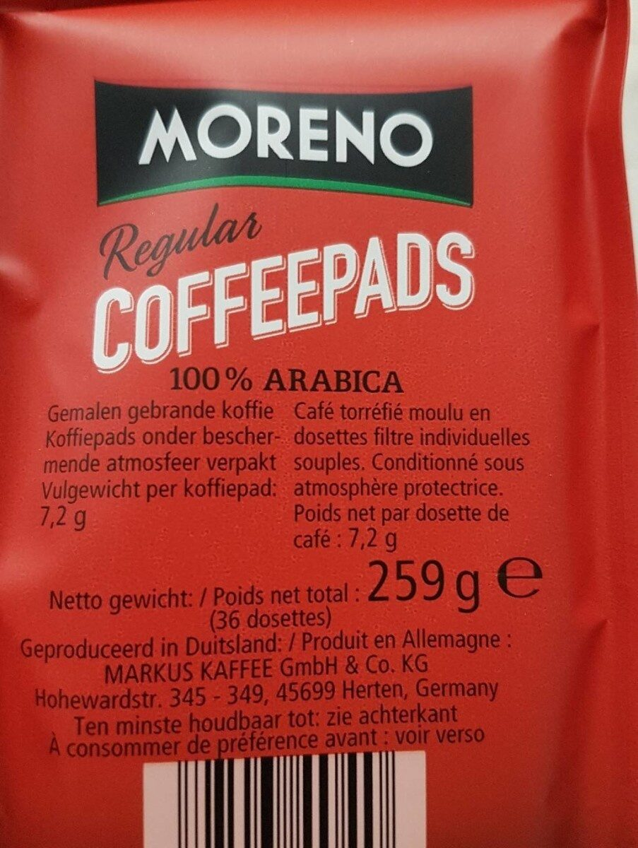 36 Coffee Pads Regular - Informations nutritionnelles - fr