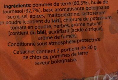 Assortiment chips saveurs - Ingrédients