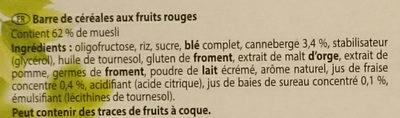 Barre cereale noisette - Ingrediënten - fr