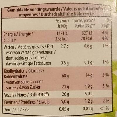 Barre de céréales - fruits rouge - Voedingswaarden - fr