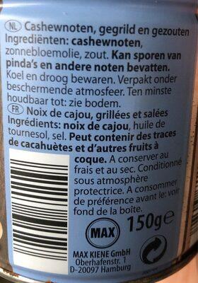Noix de cajou grillées et sans sel - Ingrediënten