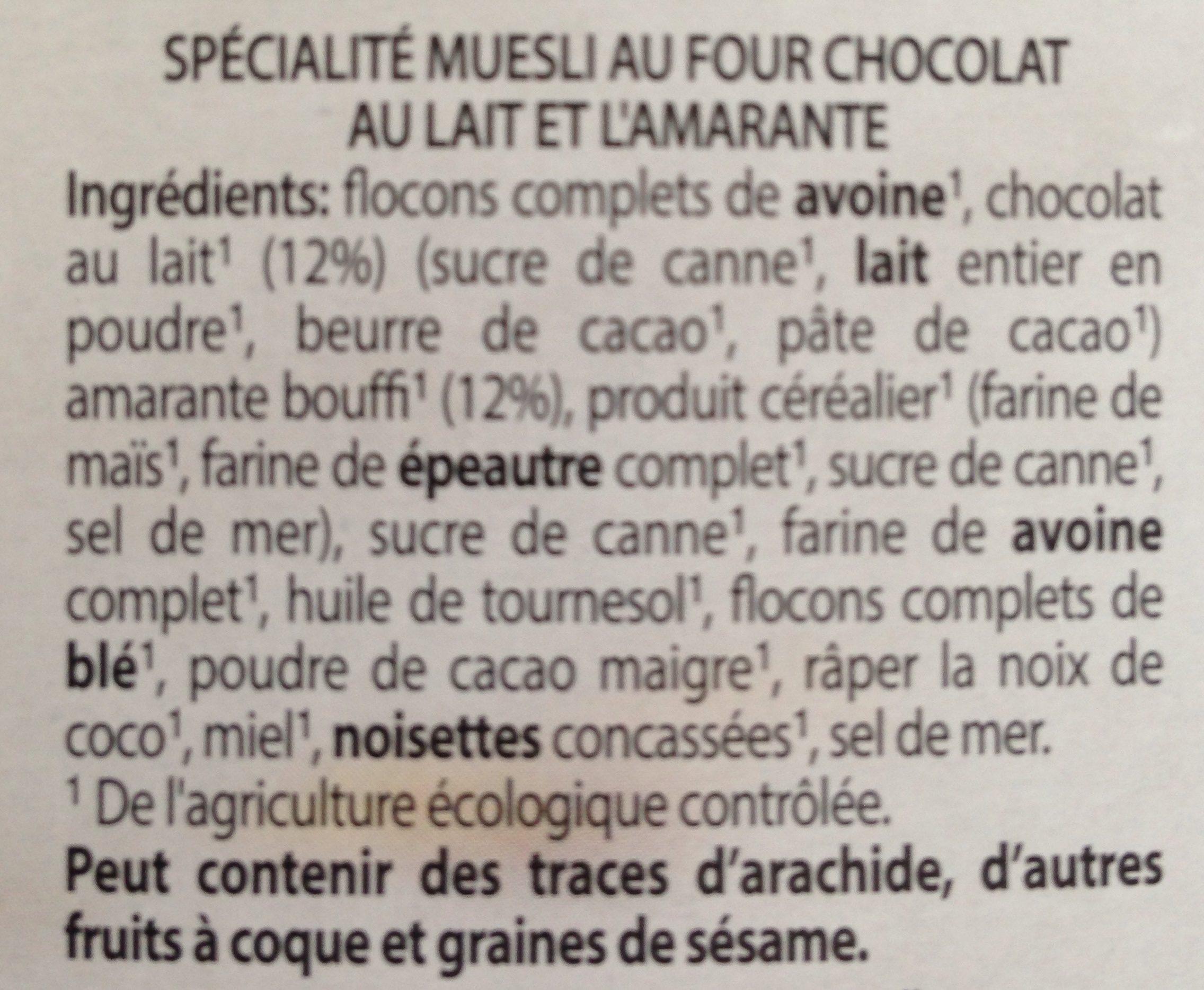 Crunchy Muesli Chocolate bio - Ingrédients