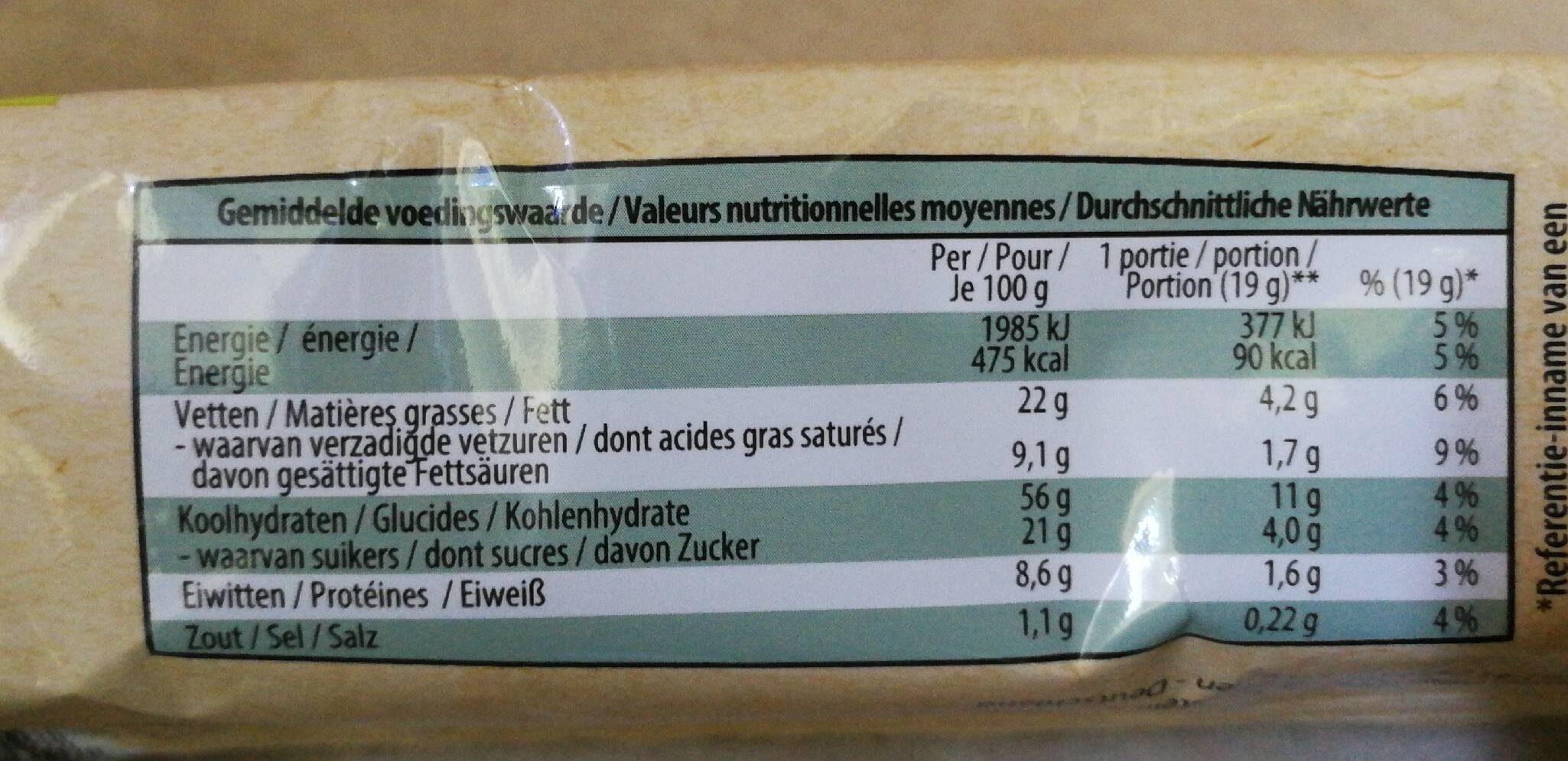Biscuits Bio à l'avoine - Voedingswaarden