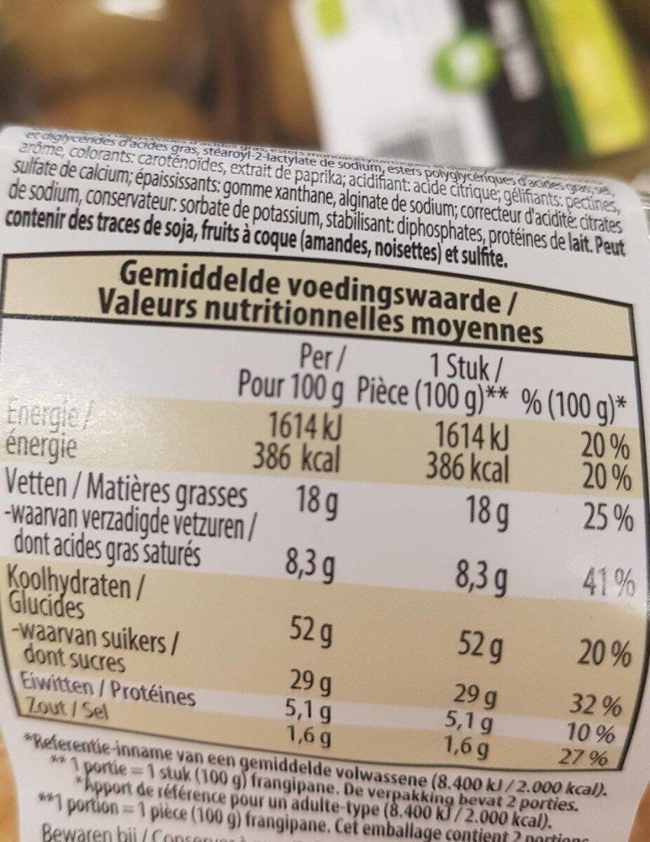 Frangipane - Voedingswaarden - fr