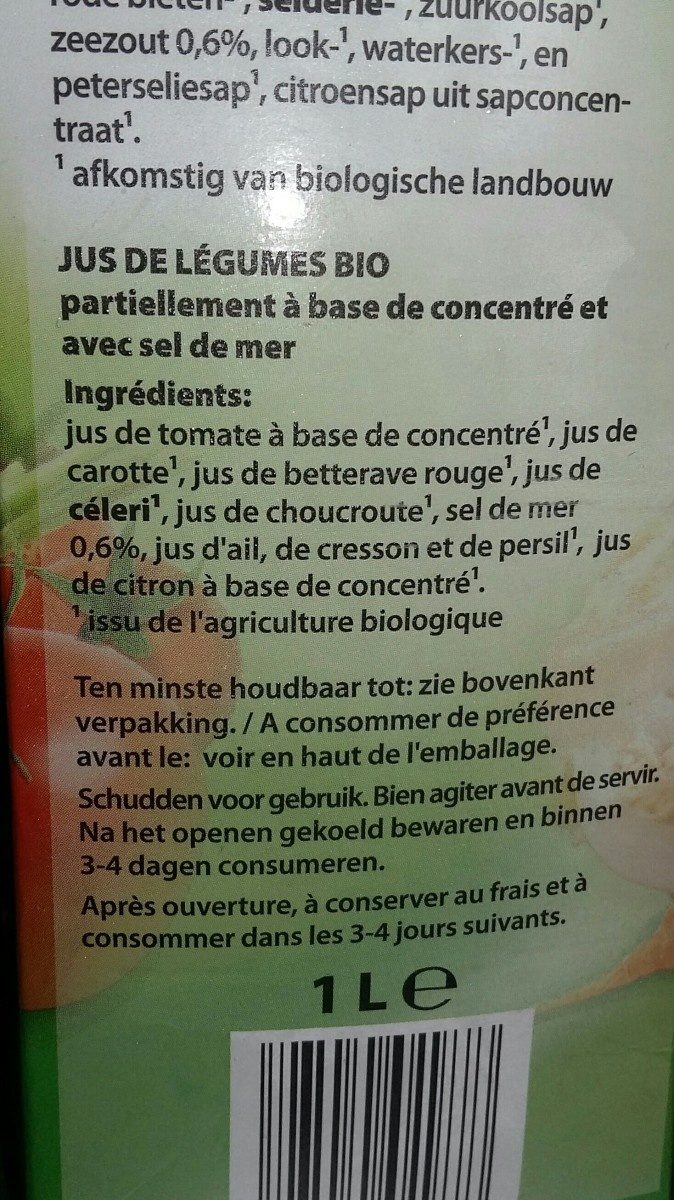 Jus  de légumes - Ingredients