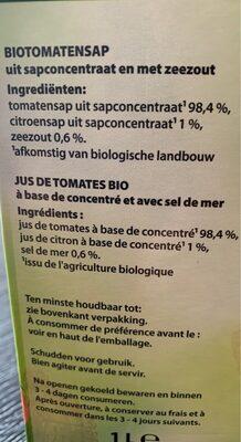 Jus  de légumes - Nutrition facts - fr
