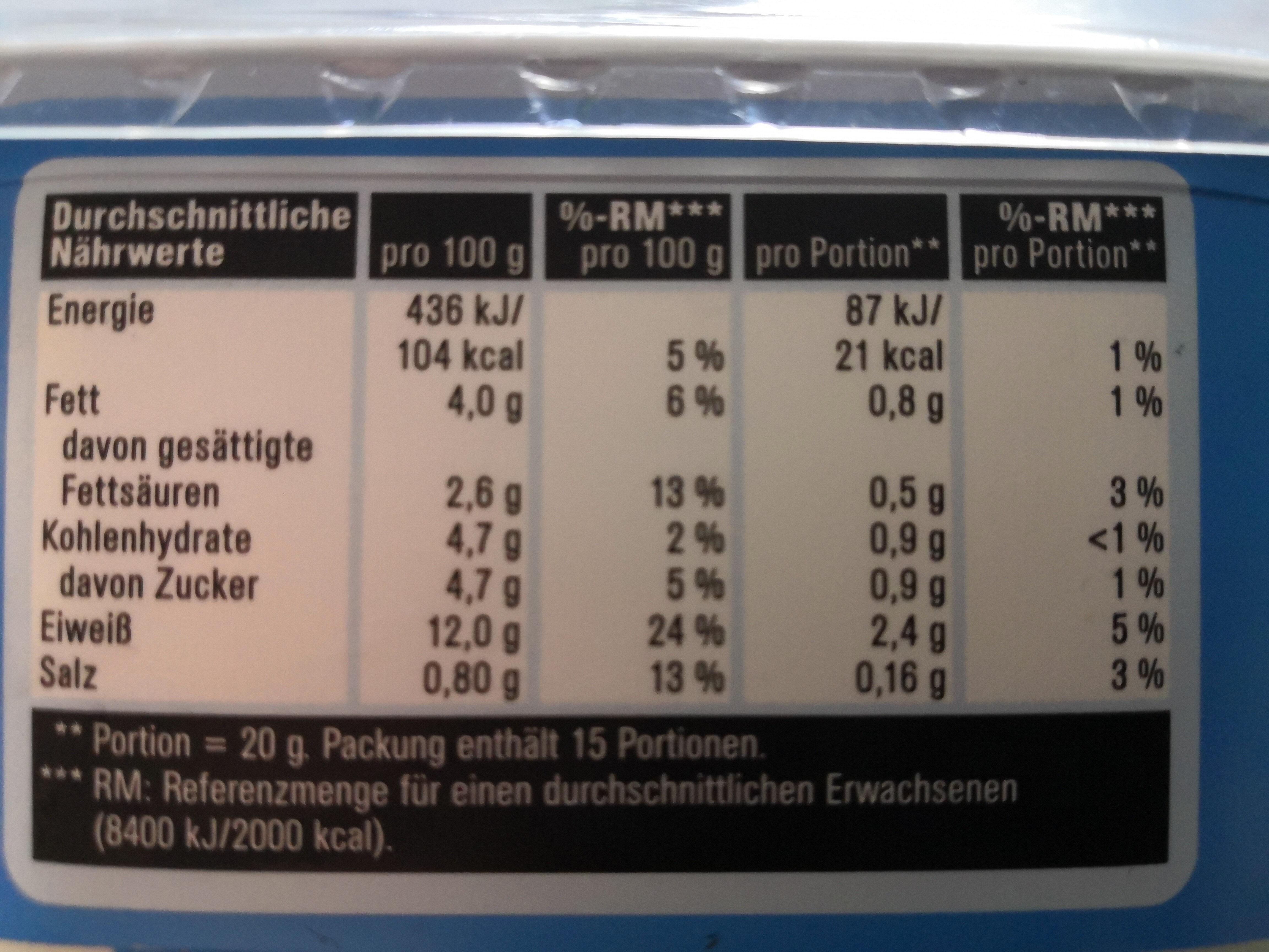 Frischkäse Leicht - Nährwertangaben
