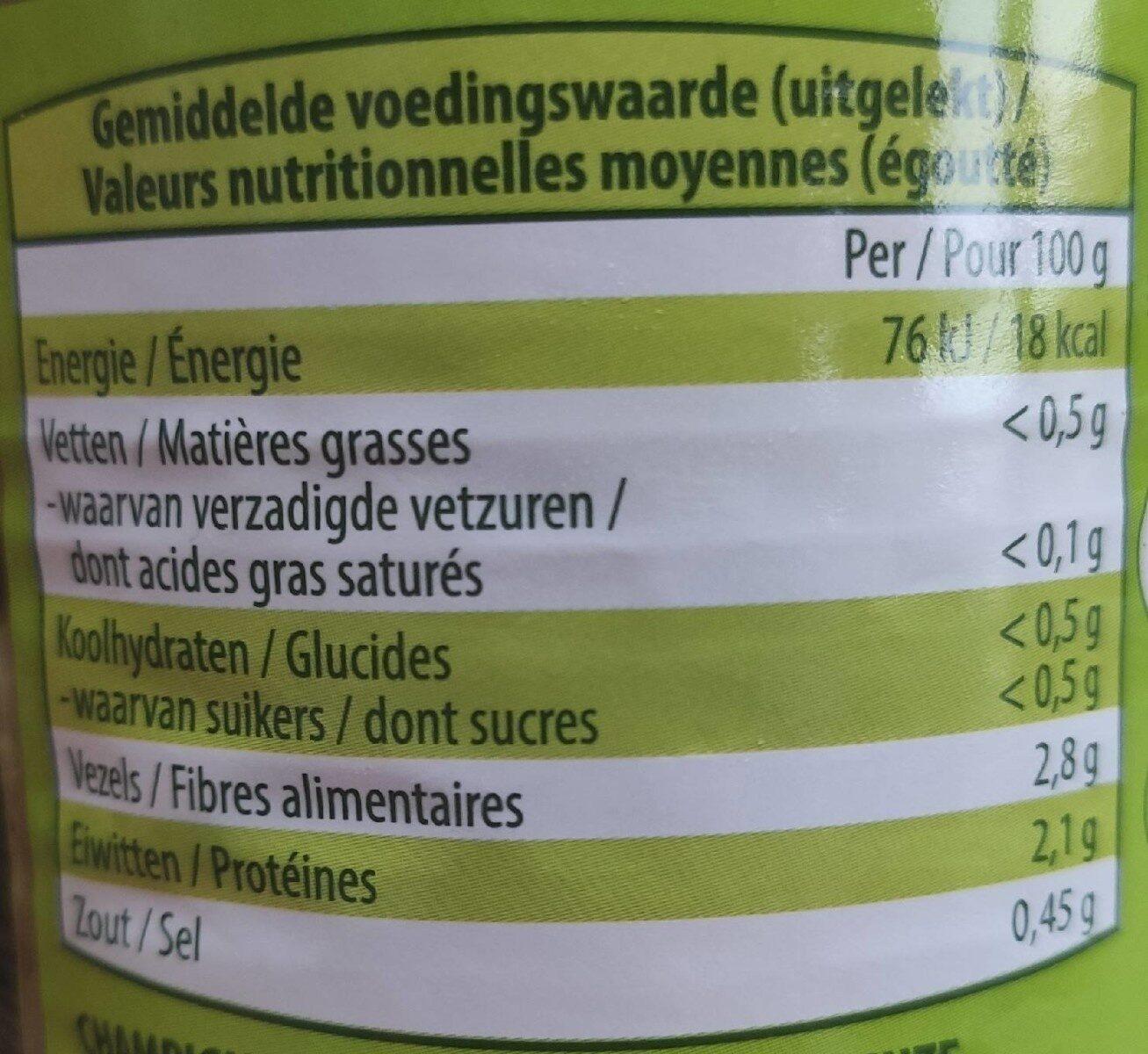 Champignons pieds et morceaux - Informations nutritionnelles - fr