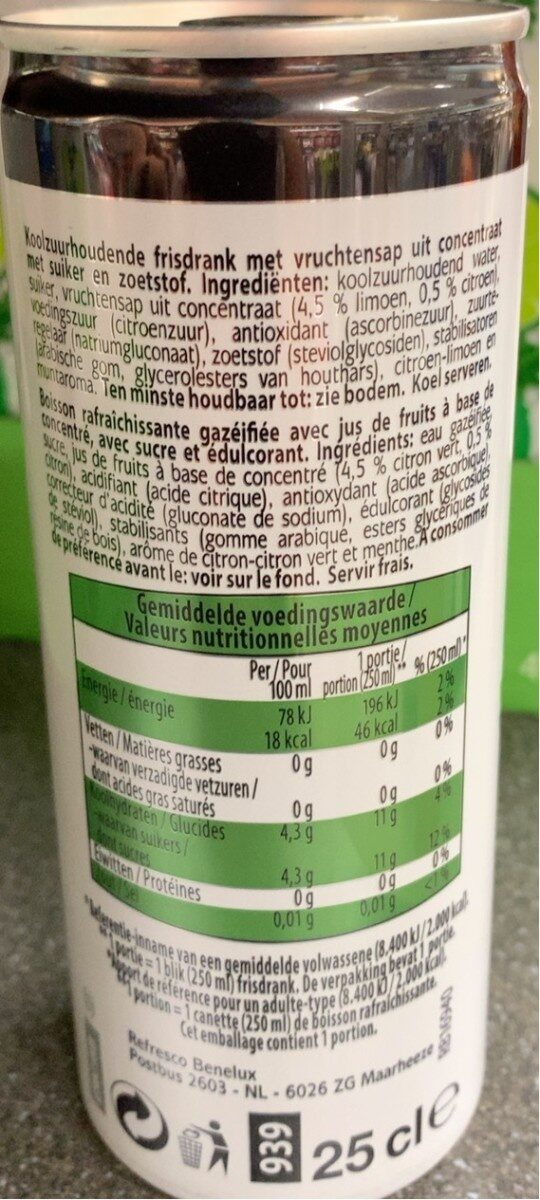 Mojito virgin cocktail - Informations nutritionnelles - fr