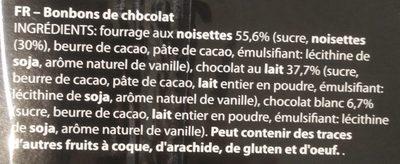 Chocolat belge fruits de mer - Ingrediënten