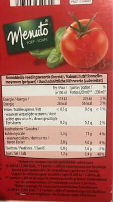 Soupe tomate basilic - Nutrition facts - fr
