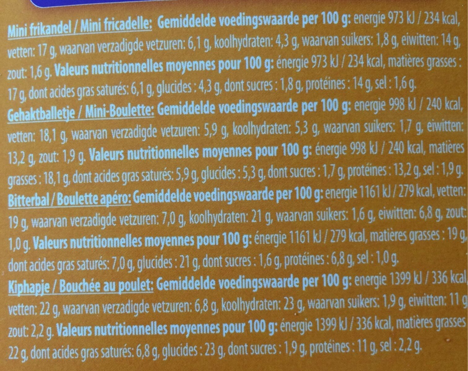 Primo Party Snacks - Voedingswaarden