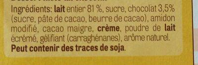 Pudding au chocolat - Ingrédients - fr