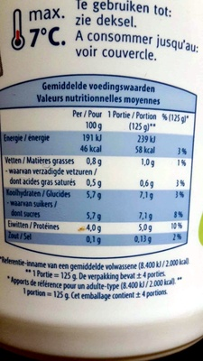 Yaourt Maigre - Informations nutritionnelles - fr