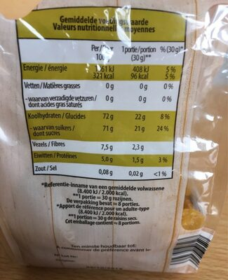 Raisins secs golden - Nutrition facts