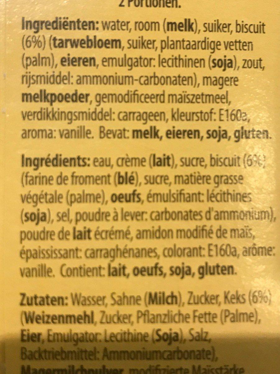 Pudding - Ingrediënten - fr