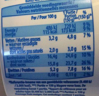 Fromage Frais Maigre fraises - Informations nutritionnelles