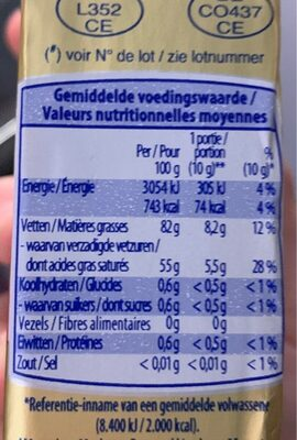 Beurre doux - Informations nutritionnelles - de