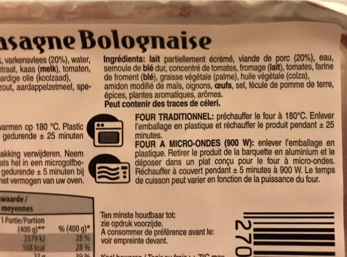 Lasagne Bolognaise - Ingrediënten - fr