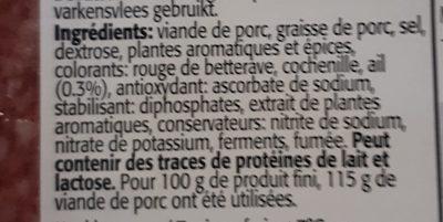 Salami a l'ail frais - Ingrediënten - fr
