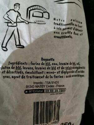 baguette rustique label rouge - Ingredienti - fr