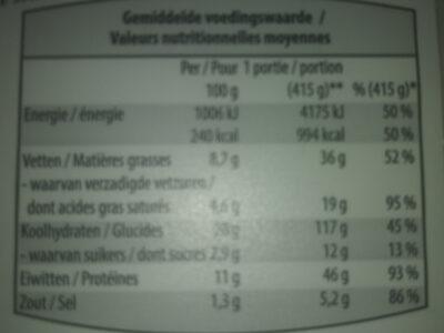 Pizza 4 Formaggi - Voedingswaarden - fr