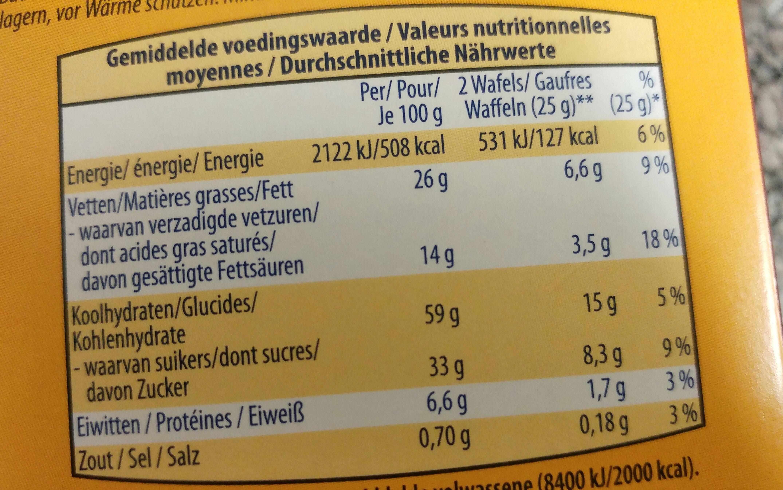 Gaufres croquantes au chocolat - Voedingswaarden