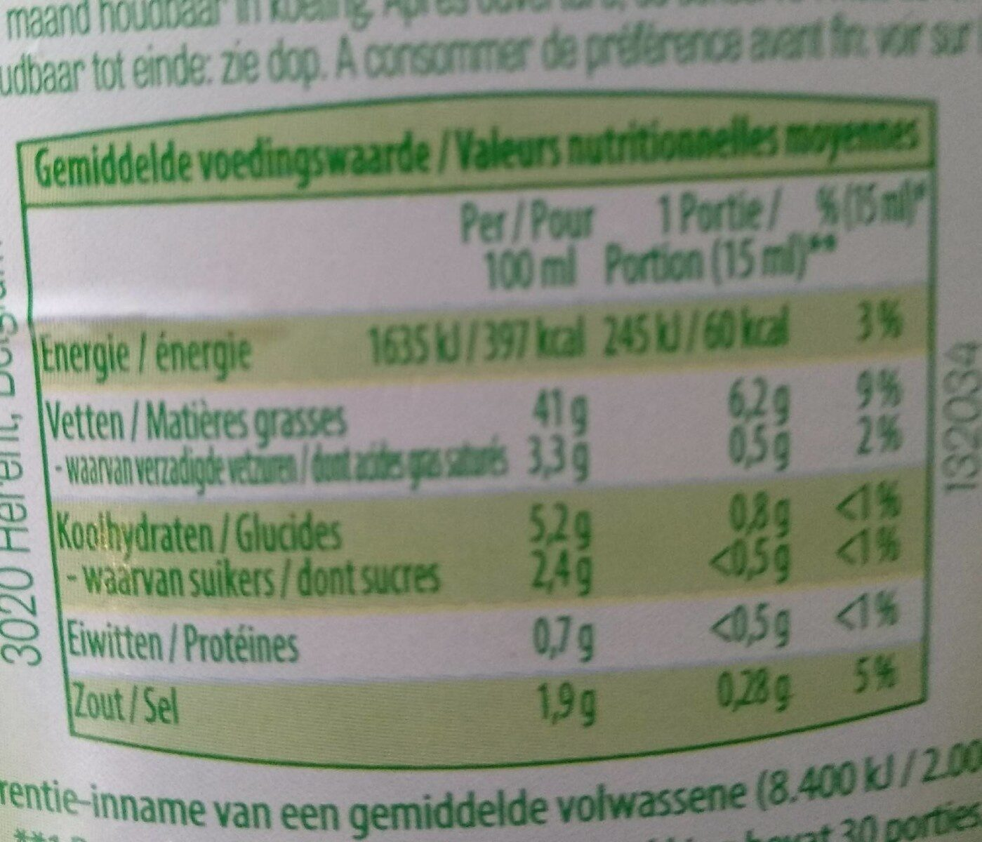 Vinaigrette ciboulette - Voedingswaarden - fr