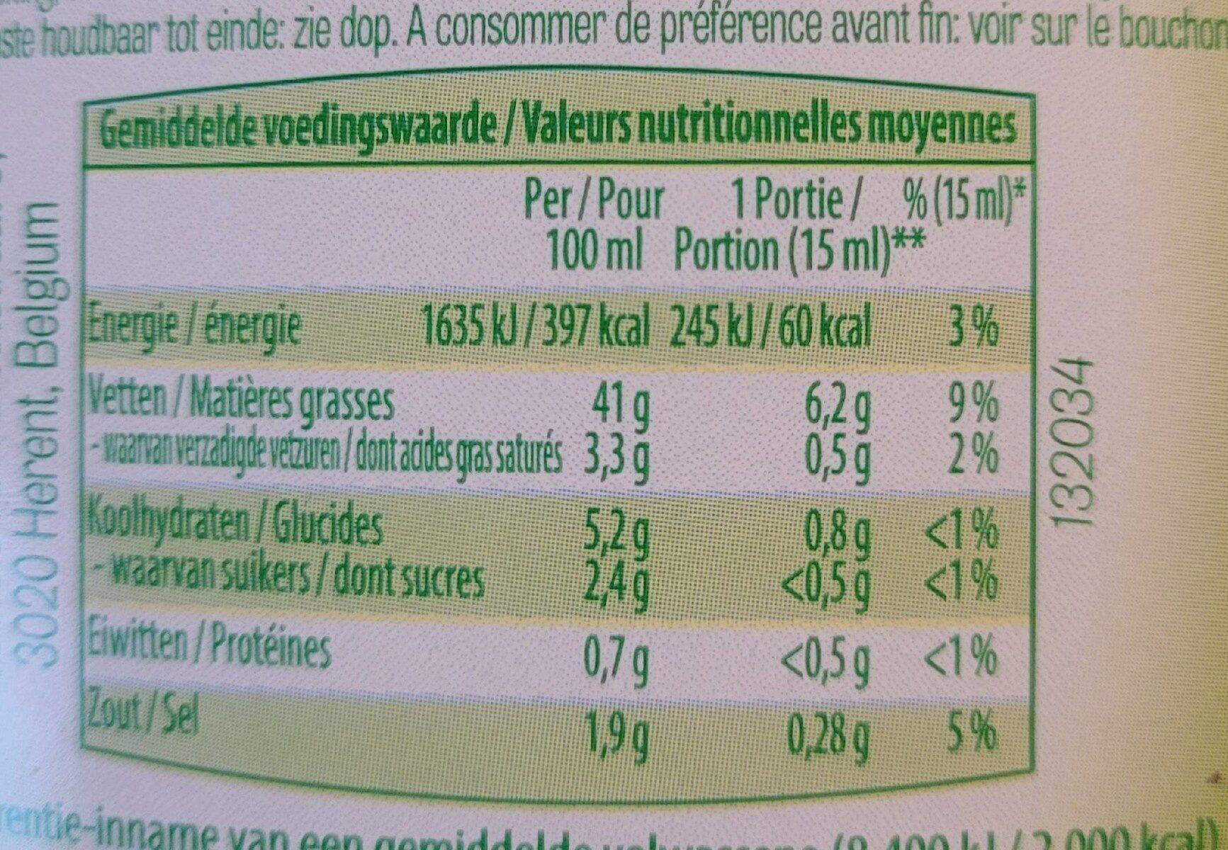 Vinaigrette ciboulette - Informations nutritionnelles - fr