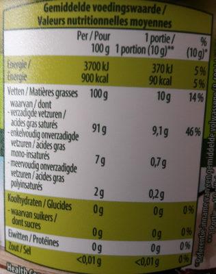 Huile coco biologique - Voedingswaarden