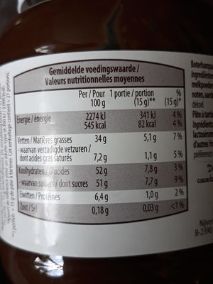 Pate à tartiner - Nutrition facts