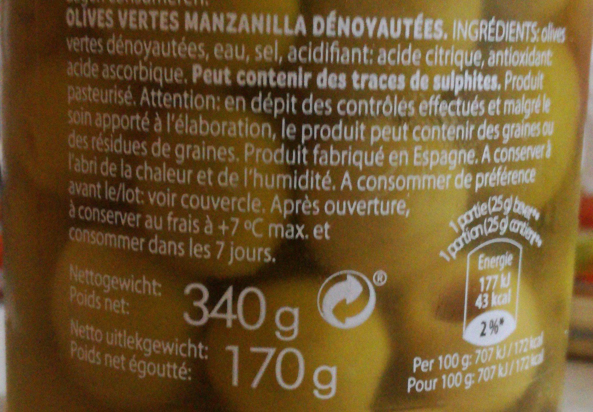 Olives vertes - Ingrediënten - fr