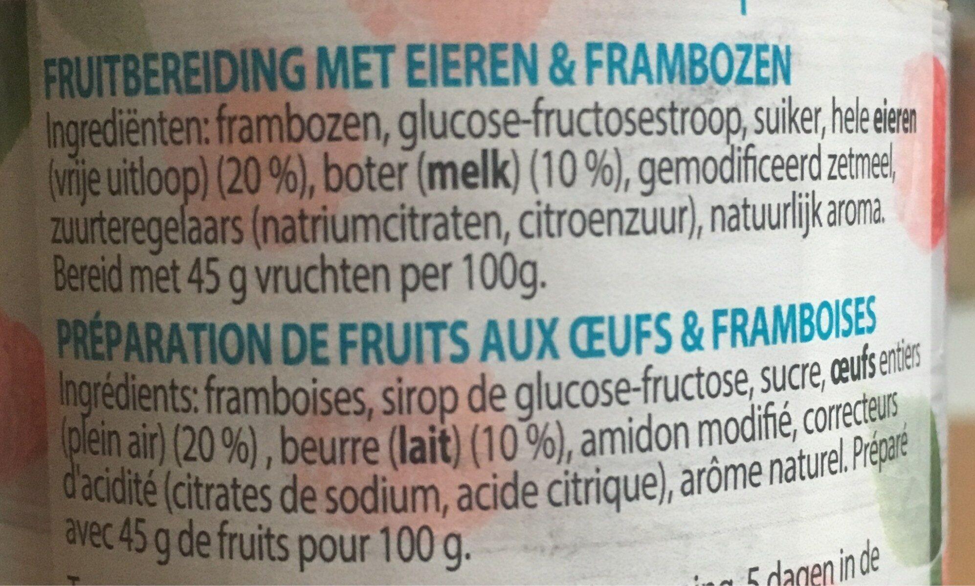 Crème de framboises - Ingredients